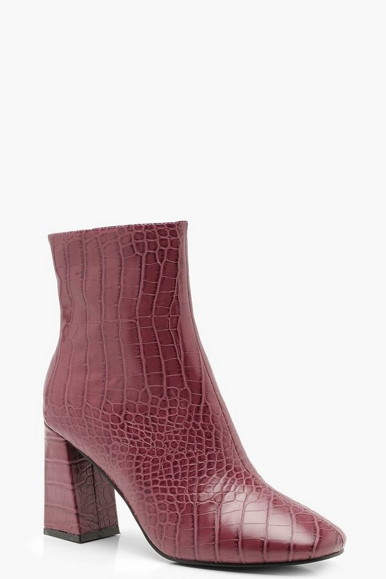 Womens Berry Block Heel Croc Shoe Boots