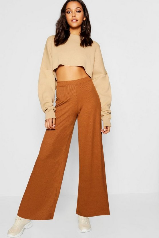 Rib Knit Wide Leg Culotte Trouser