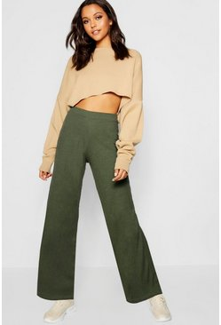 Womens Khaki Rib Knit Wide Leg Culotte Trouser