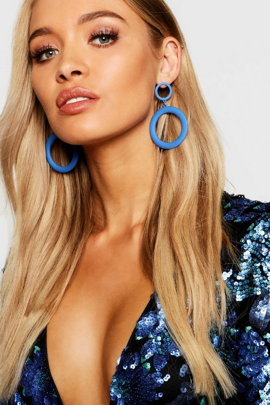 Cobalt Matte Double Circle Earrings