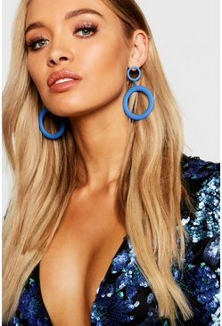 Womens Cobalt Matte Double Circle Earrings