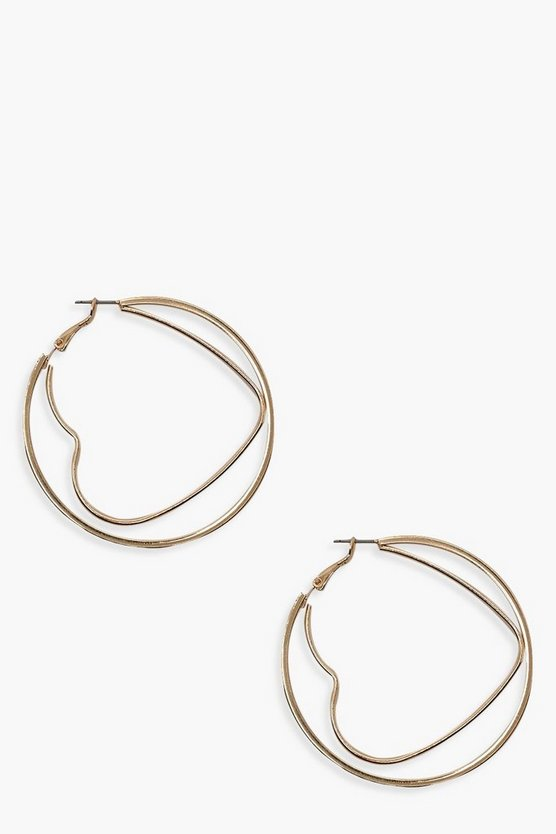 Womens Gold Heart And Circle Hoop Earrings