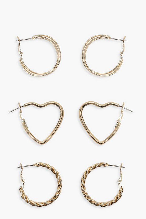 Womens Gold Retro Twisted Hoop & Heart Two Pack