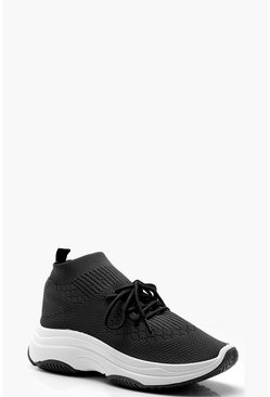 Knitted Sock Trainers, Black, Женские