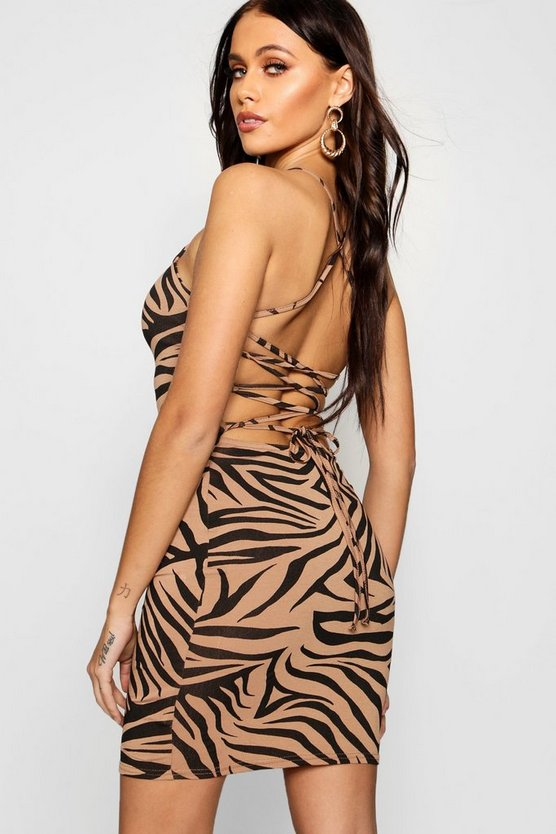 Womens Black Zebra Strappy Bodycon Dress