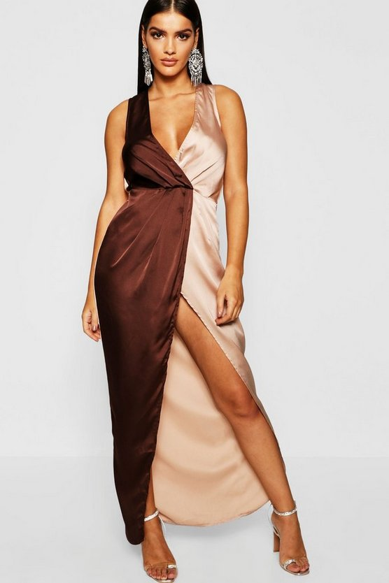 Colour Block Satin Maxi Dress