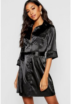 Womens Black Satin Utility Belted Mini Dress