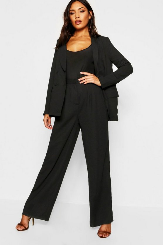 Wide Leg Woven Tailored Trouser