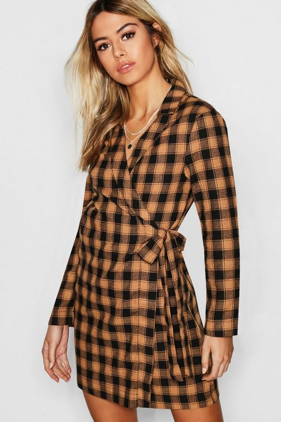 Womens Tan Check Print Woven Wrap Blazer Dress