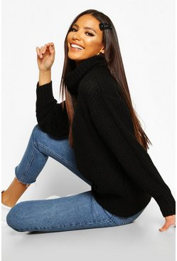 Womens Black Oversized Roll Neck Rib Knit Sweater