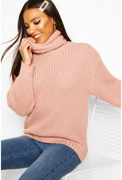 Womens Blush Oversized Roll Neck Rib Knit Sweater