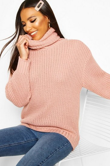 Womens Blush Oversized Roll Neck Rib Knit Jumper