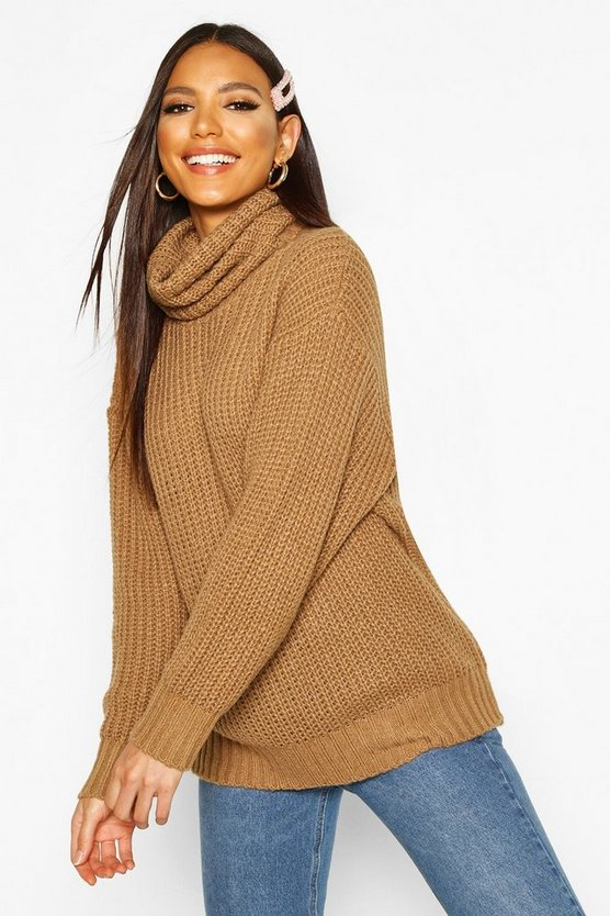 Camel Oversized Roll Neck Rib Knit Sweater
