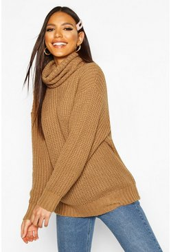 Womens Camel Oversized Roll Neck Rib Knit Sweater