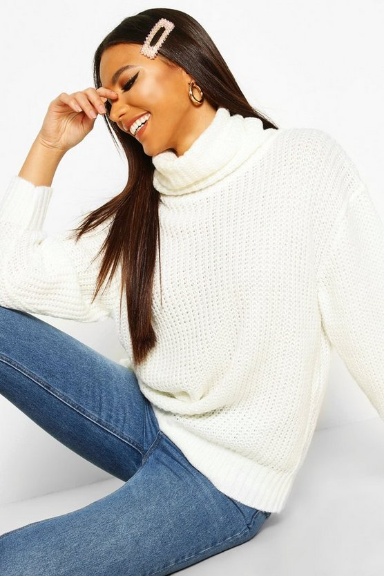 Ecru Oversized Roll Neck Rib Knit Jumper