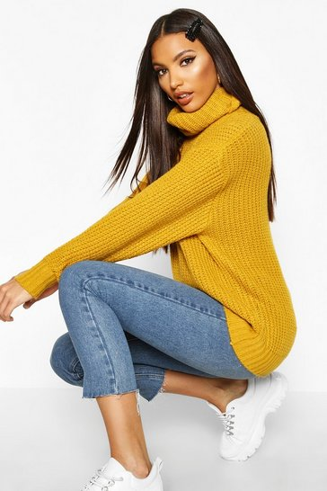 a3ae1313233 Oversized Roll Neck Rib Knit Jumper