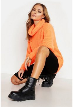 Womens Neon-orange Oversized Roll Neck Rib Knit Jumper