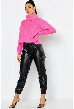 Womens Neon-pink Oversized Roll Neck Rib Knit Jumper