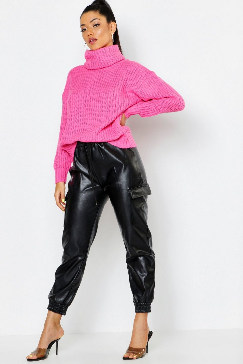 00751b7fa29765 Womens Neon-pink Oversized Roll Neck Rib Knit Sweater