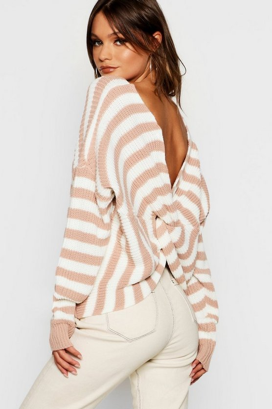 Womens Stripe Twist Back Jumper