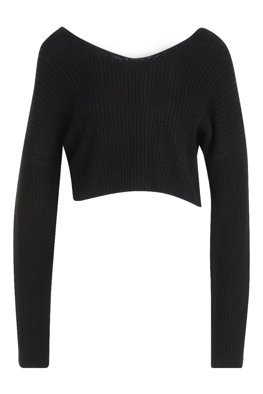 Jumper Back Super Knitted Crop Twist black f0wqZRw