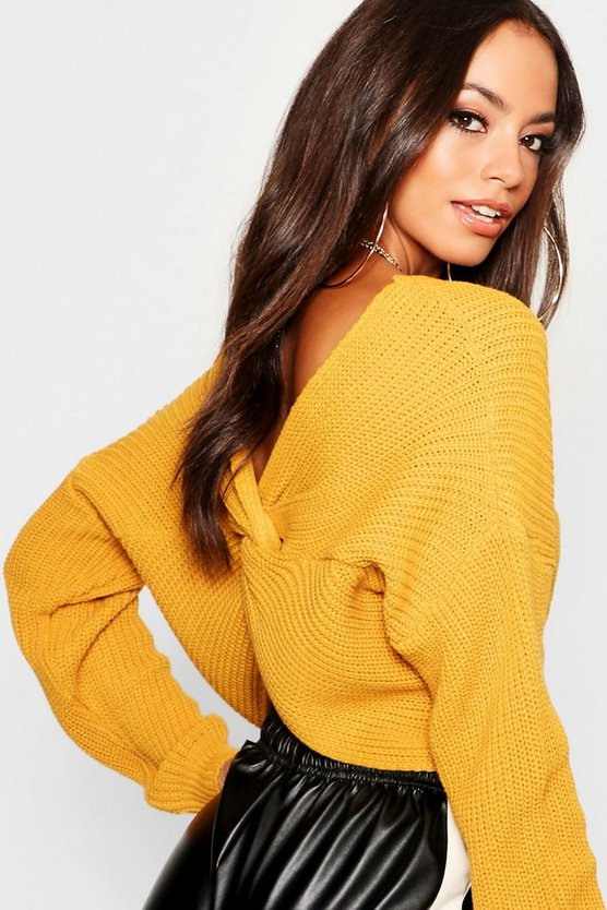 Super Crop Twist Back Knitted Jumper