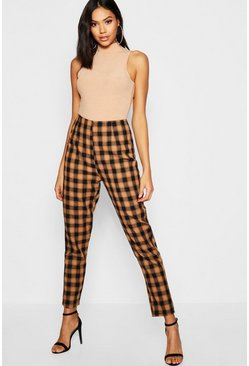 Womens Tan Woven Check Print Tapered Trouser