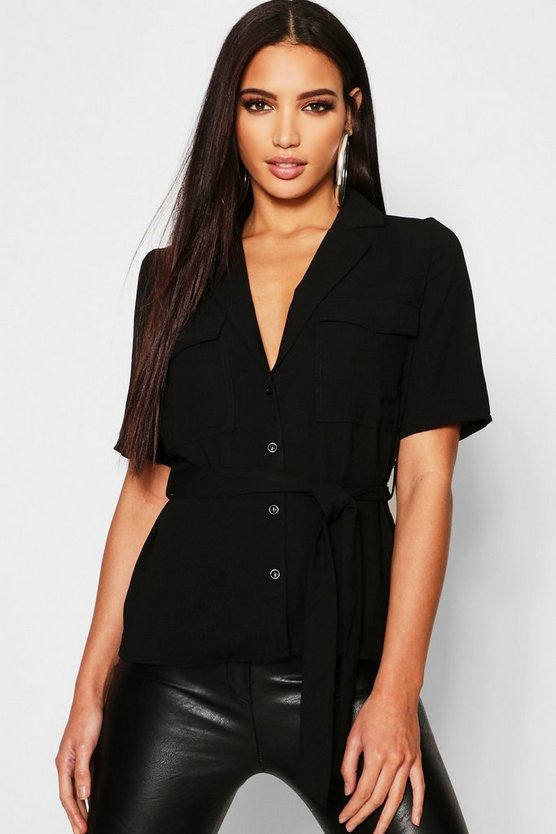 Button Tie Waist Utility Shirt