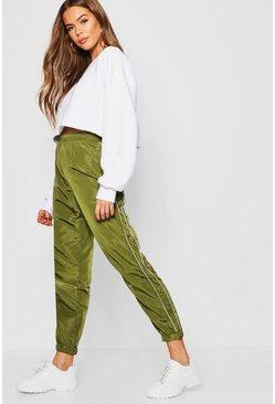 Womens Khaki Panel Detail Drawstring Shell Jogger
