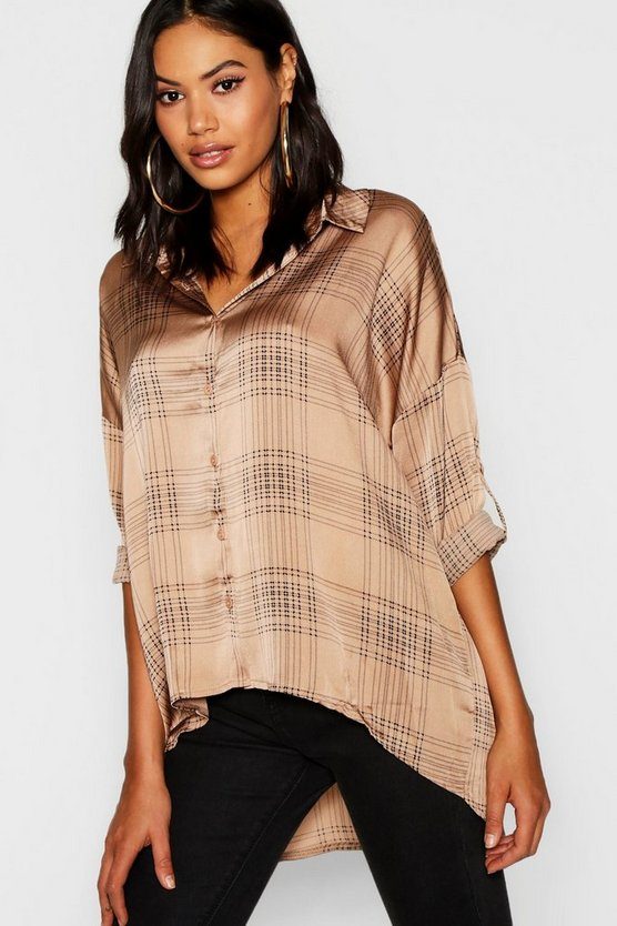Check Satin Oversized Shirt