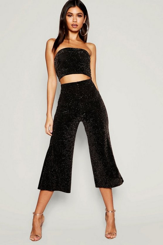 Womens Gold Shimmer Wide Leg Culotte