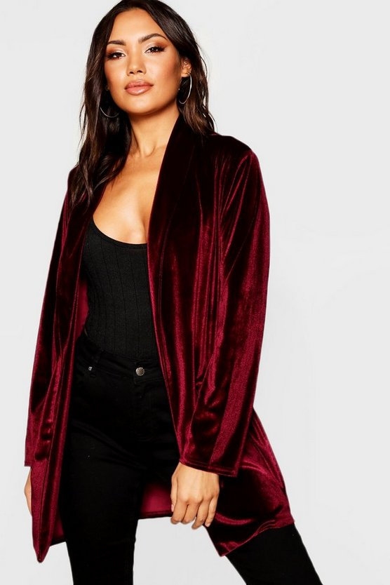 Velour Button Detail Duster Jacket
