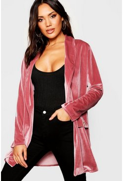 Womens Soft pink Velour Button Detail Duster Jacket