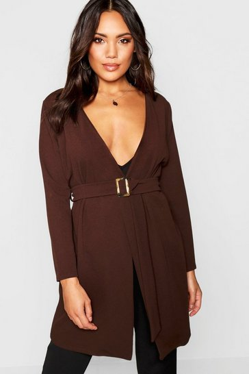 Womens Chocolate Tort Shell Belted Duster Jacket