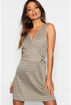 Womens Mustard Checked V-Neck Wrap D Ring Detail Skater Dress