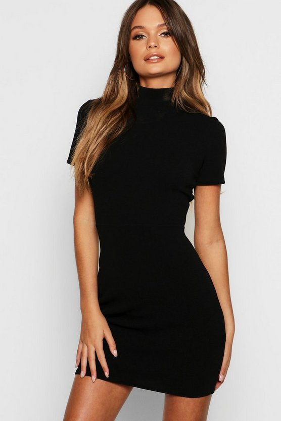 Black High Neck Fitted Mini Dress