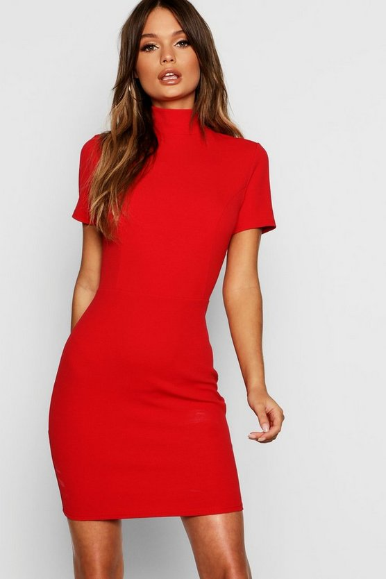 High Neck Fitted Mini Dress