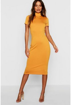 Womens Mustard High Neck Tie Back Midi Dress