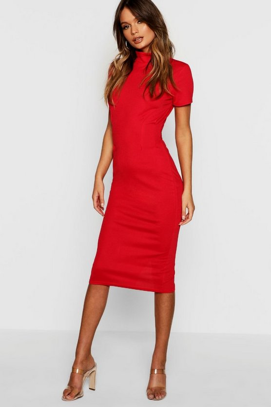 High Neck Tie Back Midi Dress