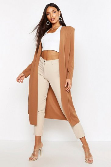 Womens Camel Ruched Waist Maxi Duster Jacket