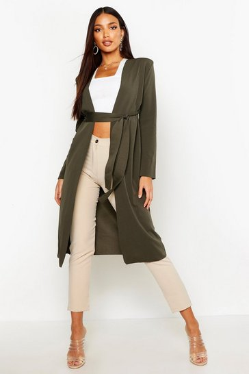 Khaki Ruched Waist Maxi Duster Jacket