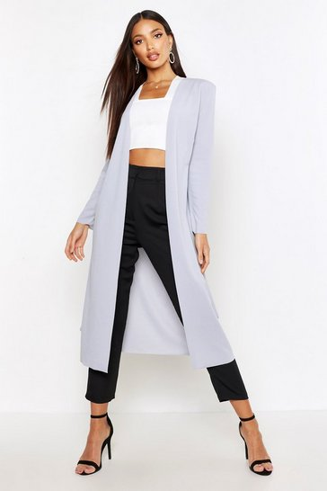 Womens Light grey Ruched Waist Maxi Duster Jacket