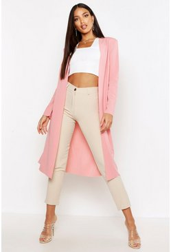 Womens Soft pink Ruched Waist Maxi Duster Jacket