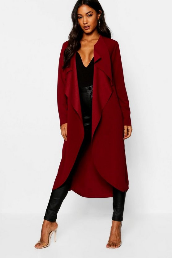 Womens Berry Waterfall Duster