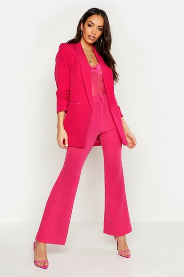Womens Hot pink Ruched Sleeve Blazer