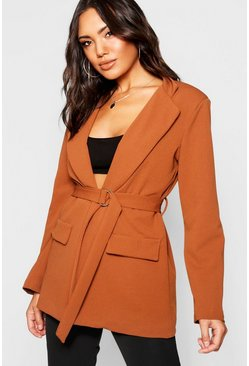 Womens Rust D-Ring Pocket Longline Blazer