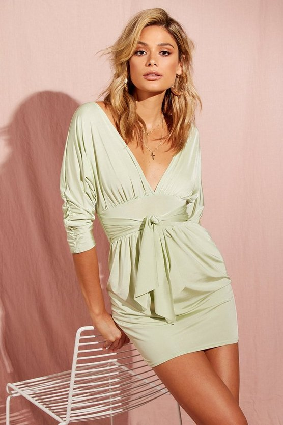 Womens Sage Batwing Drape Front Slinky Mini Dress