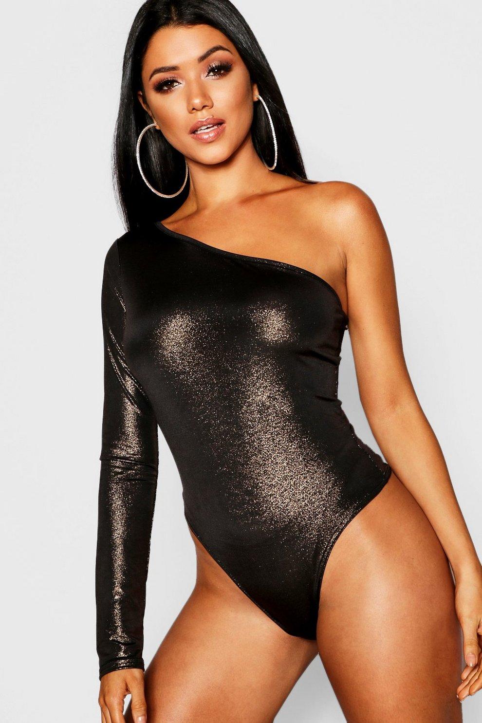 c6d5d57c8766 Metallic One Shoulder Bodysuit | Boohoo