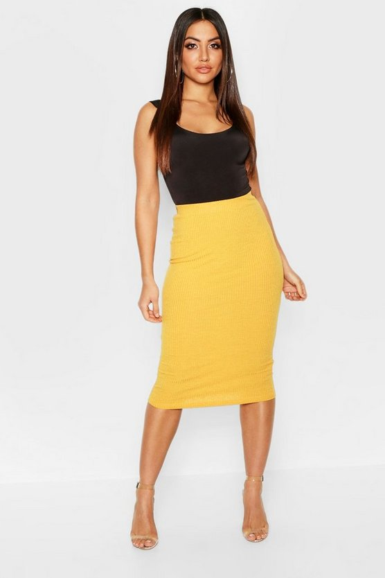 Rib Knit Bodycon Midi Skirt