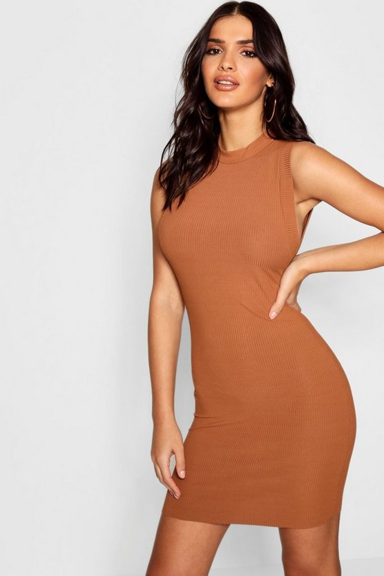 Rib Knit Sleeveless Bodycon Mini Dress
